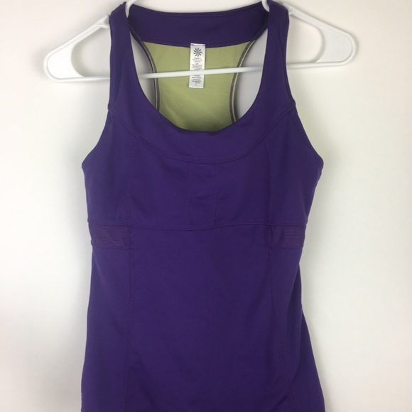 Activewear Tops Athleta Womens Tank Size Small Purple Racerback Tie Waist Built In Bra Mesh #8 Big Clearance Sale Women's Clothing